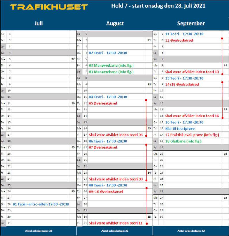 Hold 7 kalender