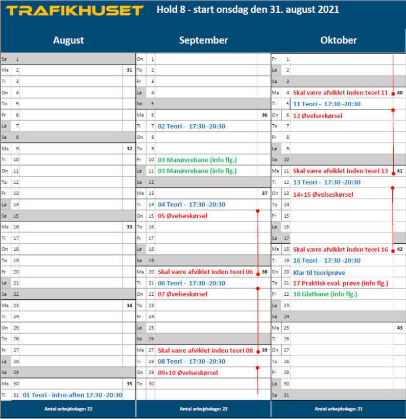 Hold 8 kalender